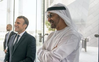 Sheikh Mohamed bin Zayed and Emmanuel Macron discuss the crisis in Libya